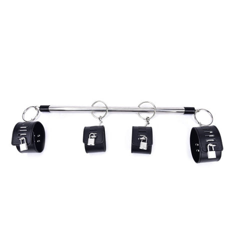 Image of Spreader Bar, 4 Cuffs, Vegan Leather and Metal, with Locks, Red or Black - Cuffs - BDSM Collar Store