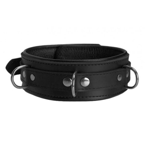 Image of Genuine Black Leather Collar with Three Layers of Leather, Locking, Triple Heavy D Ring, 2.5 Inch - Collar - BDSM Collar Store