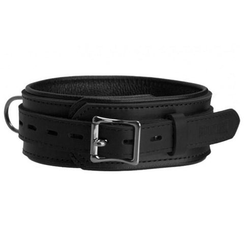 Genuine Black Leather Collar with Three Layers of Leather, Locking, Triple Heavy D Ring, 2.5 Inch - Collar - BDSM Collar Store
