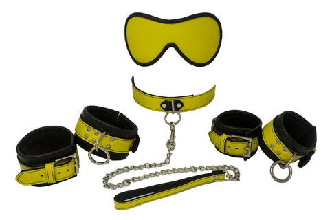 Image of Genuine Leather Beginner Kit 12 Colors, Collar Wrist Cuffs Ankle Cuffs Blindfold Leash - Cuffs - BDSM Collar Store