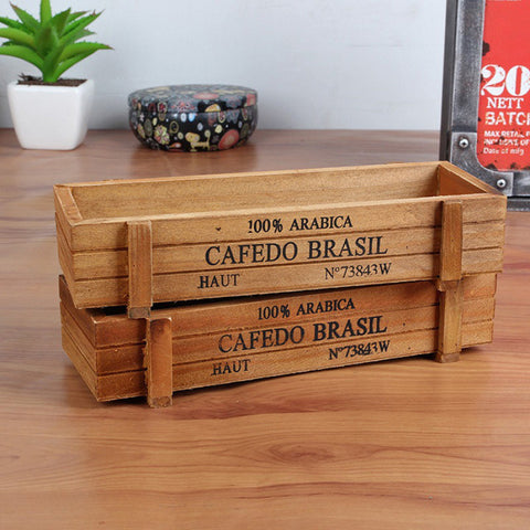 Plant Pot Decorative Vintage Wooden Case for Gardens