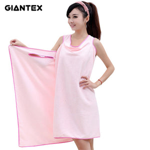 Wearable Women Bath and Beach Skirt Towel Super Absorbent Gown