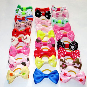 20PCS/Lot Pet Cat Dog Hair Bows with Rubber Bands