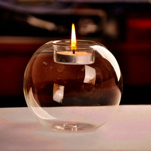 Portable Classic Crystal Transparent Glass Candle Holder