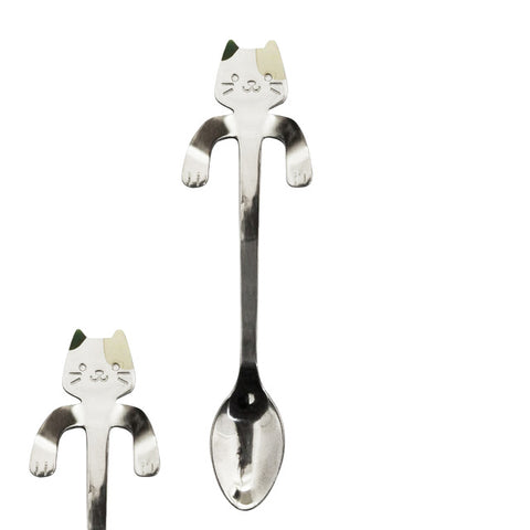 1 pcs Stainless Steel Cat Coffee and Dessert Teaspoon Kitchen Tableware