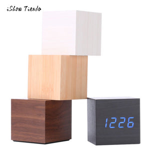 Multicolor Sounds Control Wooden LED Desk Alarm Clock