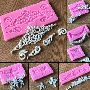 Lace Pattern Silicone Cake Mold Forms Baking Pastry