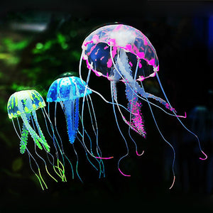 Glowing Artificial Silicone Vivid Jellyfish Fish Tank Decor Aquarium