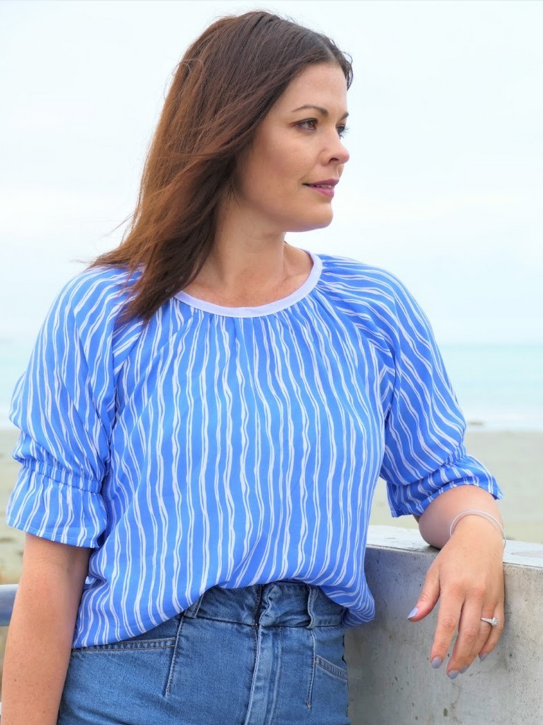 OPAL TOP - LIGHT BLUE STRIPE