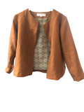 JACKIE O JACKET - RUST  VINTAGE FINISH LINEN