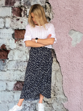 POPPY WRAP SKIRT - NAVY SPOT