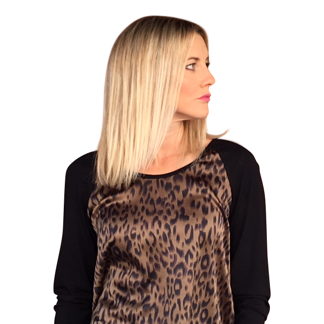 ROAD TRIPPING TOP - GREEN ANIMAL PRINT/BLACK KNIT