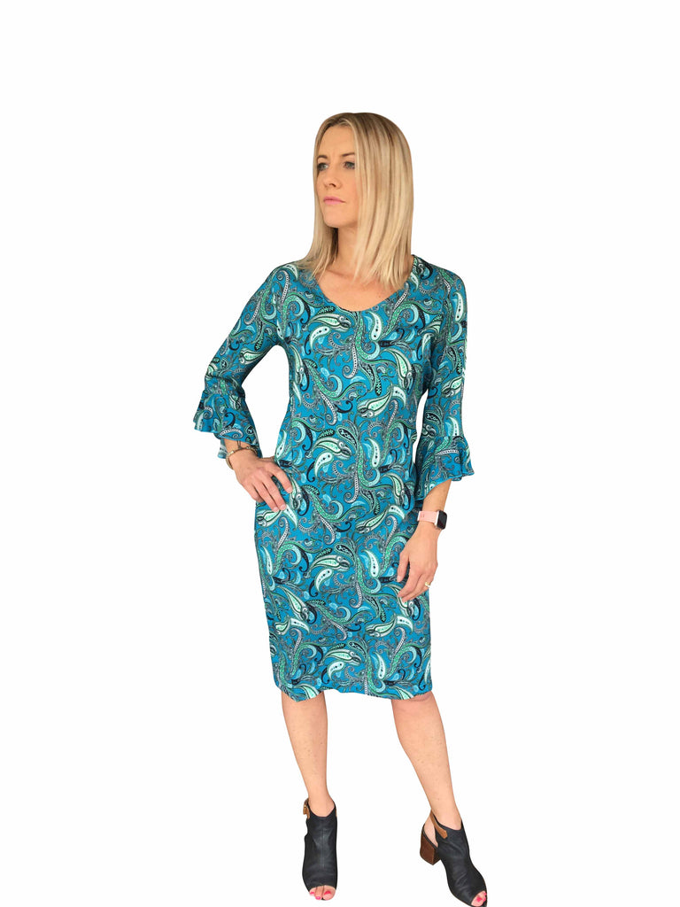 CELEBRATION DRESS - TURQUOISE PAISLEY PRINT