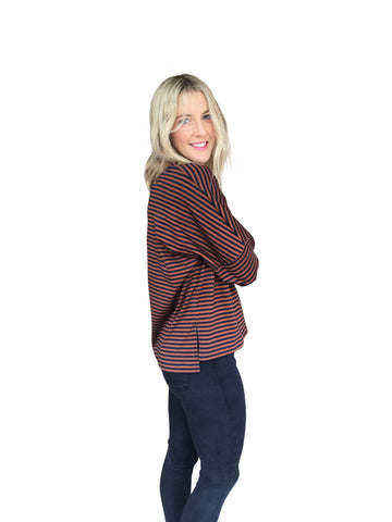 AVA TOP - RUST/NAVY STRIPE
