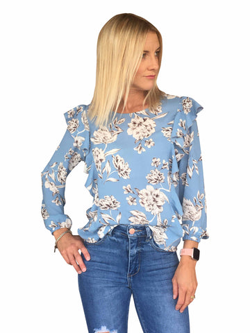 IVY TOP - BLUE FLORAL/NAVY
