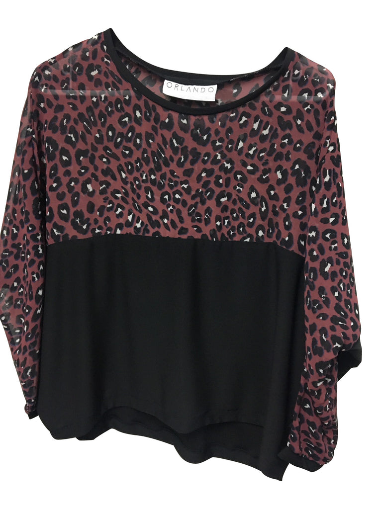 MELROSE TOP - ANIMAL PRINT & BLACK