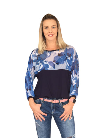 MELROSE TOP - NAVY & PRINT