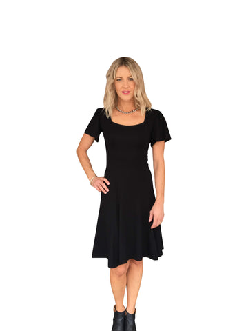 AVA DRESS - BLACK JACQUARD KNIT
