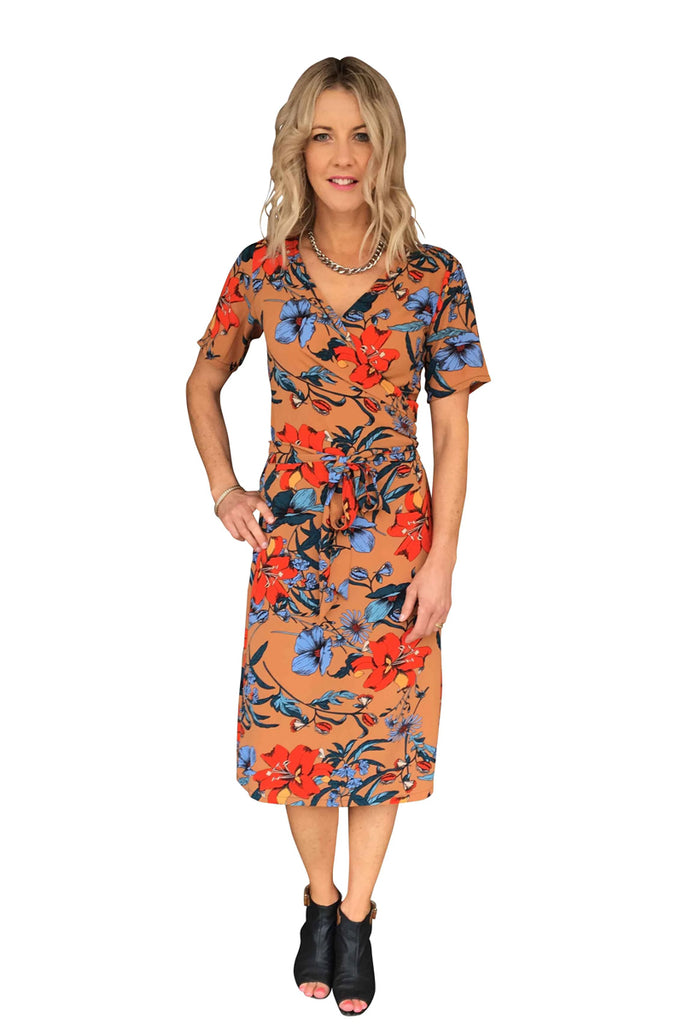 KATE WRAP DRESS - TAN FLORAL PRINT