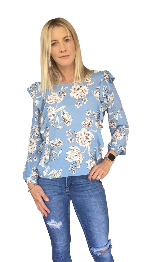 GRACIE TOP - BLUE FLORAL