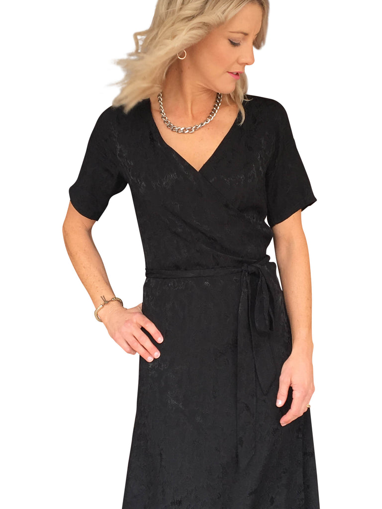 KATE WRAP DRESS - JACQUARD