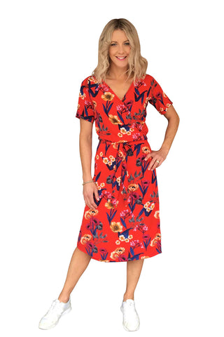 KATE WRAP DRESS - RED FLORAL PRINT