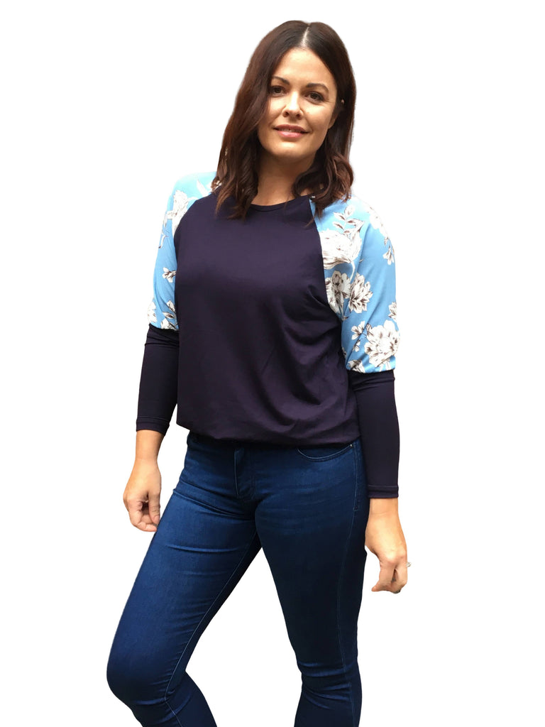 SUNSET TOP - BLUE FLORAL/NAVY KNIT