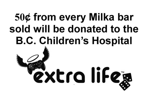 50 cents from every Milka bar sold will be donated to the BC Children's Hospital