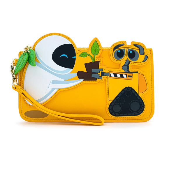 LOUNGEFLY .X .PIXAR WALL-E AND EVE BOOT PLANT FLAP WALLET