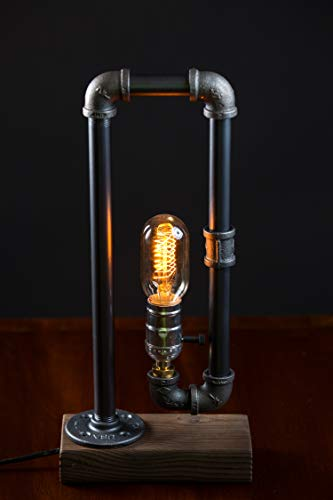Industrial Steampunk Desk Lamp Wood Base - Iron Piping Vintage Antique Design