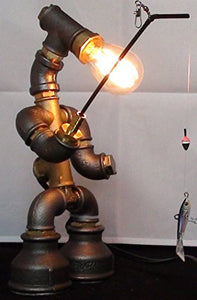 Robot Fisherman Handmade Steampunk Pipe Table Lamp