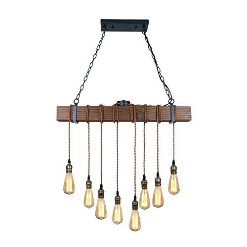 Black Metal and Wood Beam Hanging Pendant - 8 Lights Rustic, Farmhouse, Bar