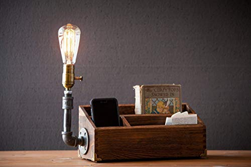 Industrial Steampunk Desk Organizer and Tabletop Lamp