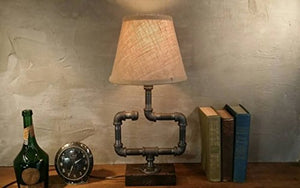 Shaded Industrial Steampunk Rectangular Piping Desk Lamp