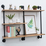 Industrial Pipe Shelf with Wood Shelves - 43.3in