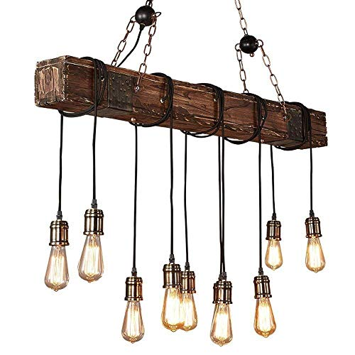 Wood Beam Industrial 10 light Pendant with Chains Rustic FarmHouse Decor