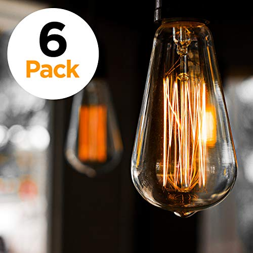 6-Pack 60w Antique Vintage Style Light, Amber Warm, Dimmable