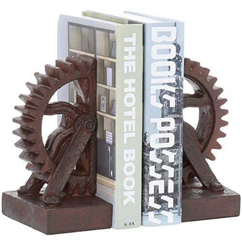 Gear-Shaped Bronze-Tone Metal Bookends