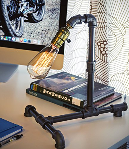 Loft Living Designer Steampunk Water Piping Desk Top Table Lamp