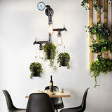 Pipe Faucet Wall Sconce with 3 Hanging Buckets