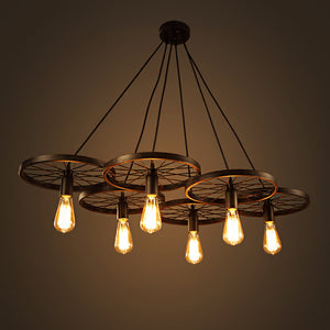6-light Black 41-inch Edison Chandelier with Bulbs