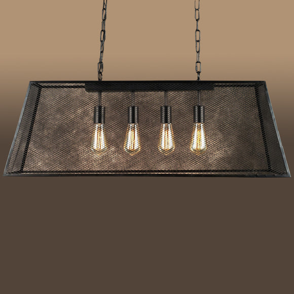 Lemuela 4-light Black 30-inch Edison Island Chandelier with Bulbs