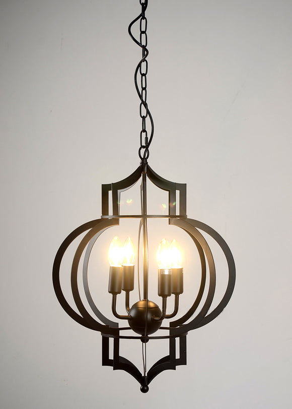 Lynette 4-light Black-finished 17-inch Chandelier with Bulbs