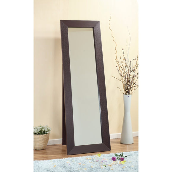 Aesthetic Accent Mirror With Wooden Framing, Dark Brown