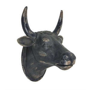 Urbane Inspired Cow Head Wall Hanging, Black