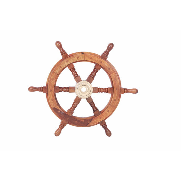 Wood Bilbao Pirate Ship Wheel,  Navel Style Nautical Theme