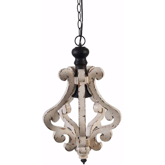 Hanging Wooden Home Chandelier, Antique White Distressed Finish