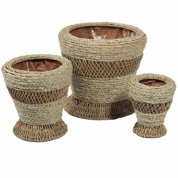 Designer Woven Patterned Baskets, Beige, Set of 3