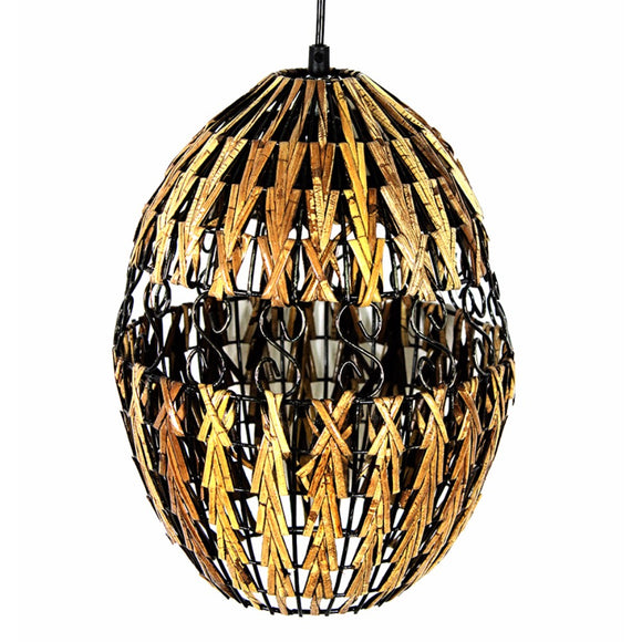 Decorative Rattan Hanging Lantern, Brown And Black