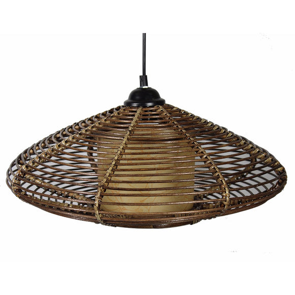 Finely Designed Rattan Hanging Lantern, Brown